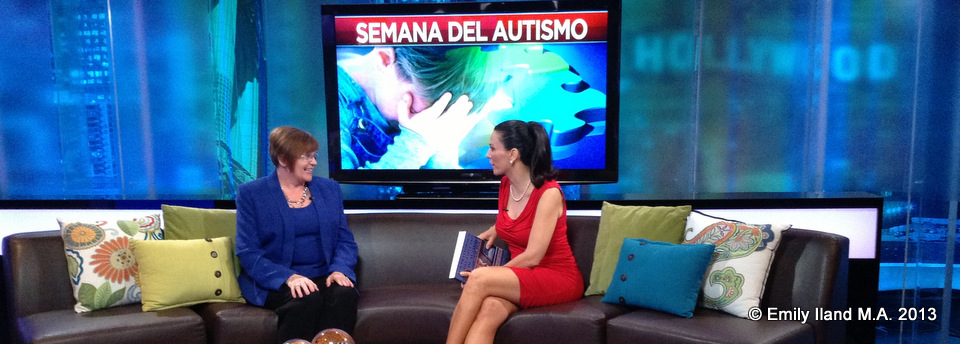 Emily and Univision TV host Gabriela Tessier on the set of the TV show